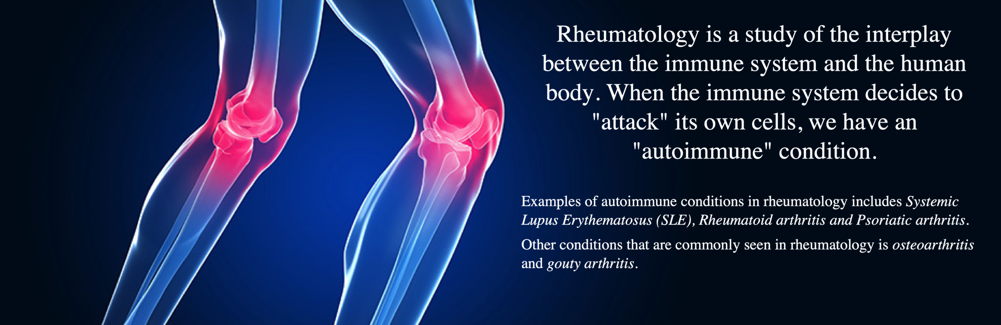 Rheumatology is a study of the interplay between the immune system and the human body. When the immune system decides to